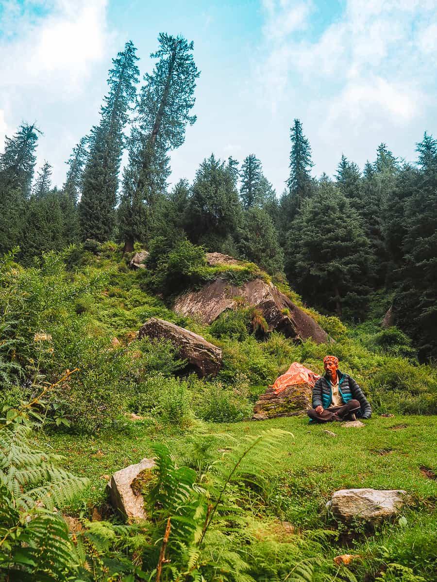 Himachal Man in Manali Meditating