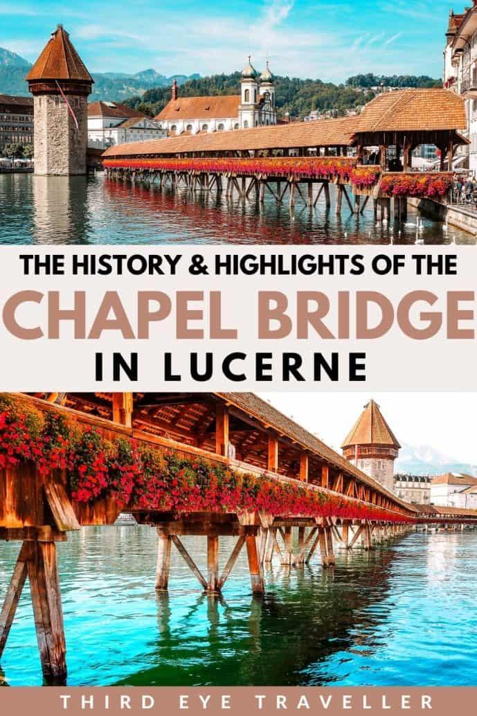 Kapellbrucke Chapel Bridge and Water Tower in Lucerne Switzerland