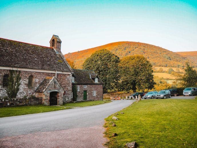 Llanthony Priory grounds Brecon Beacons National Park Wales