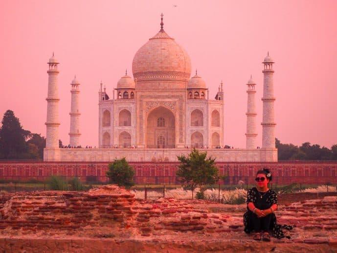 Mehtab Bagh moonlight gardens Pink Taj Mahal View