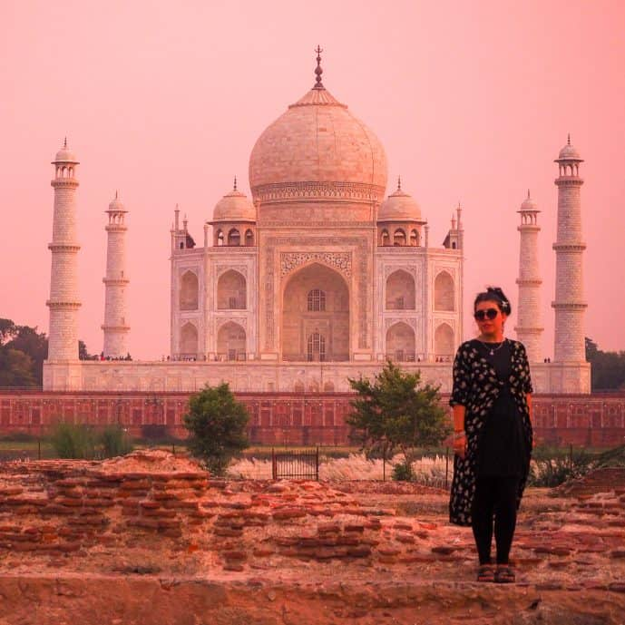 Overlooking the Taj Mahal at Sunset with a Pink Sky