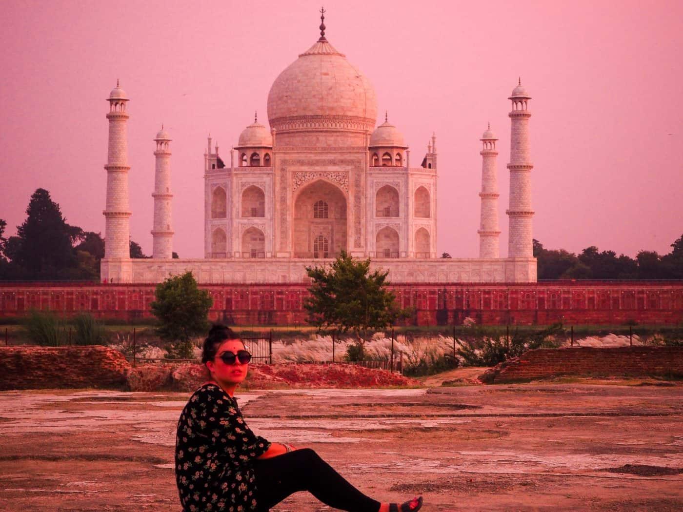 Taj Mahal Pink Sky Sunset