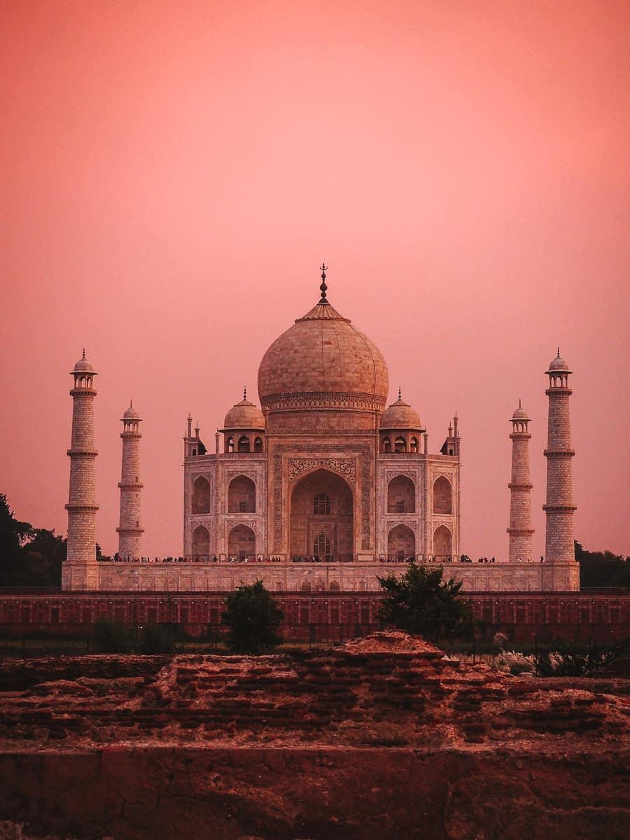 Mehtab Bagh Gardens Agra Taj View pink sky