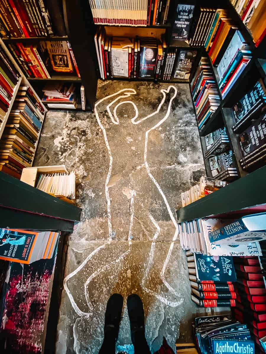 Dead body outline in Murder and Mayhem Bookshop Hay on Wye