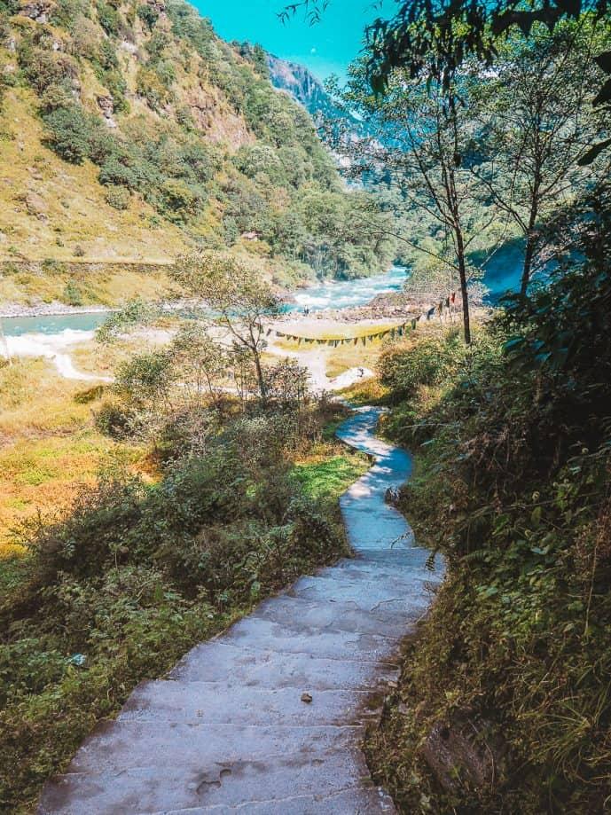 Steps down to Nuranang Falls