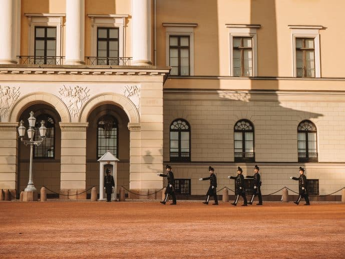Changing of the Guard Ceremony at the royal palace in Oslo