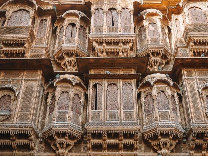 Patwon Ki Haveli balconies Jaisalmer