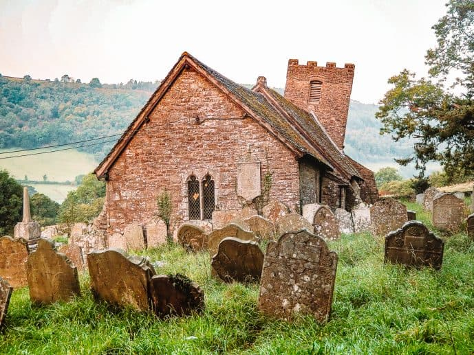 St Martin's Church Cwmyoy Crooked Church in Brecon Beacons