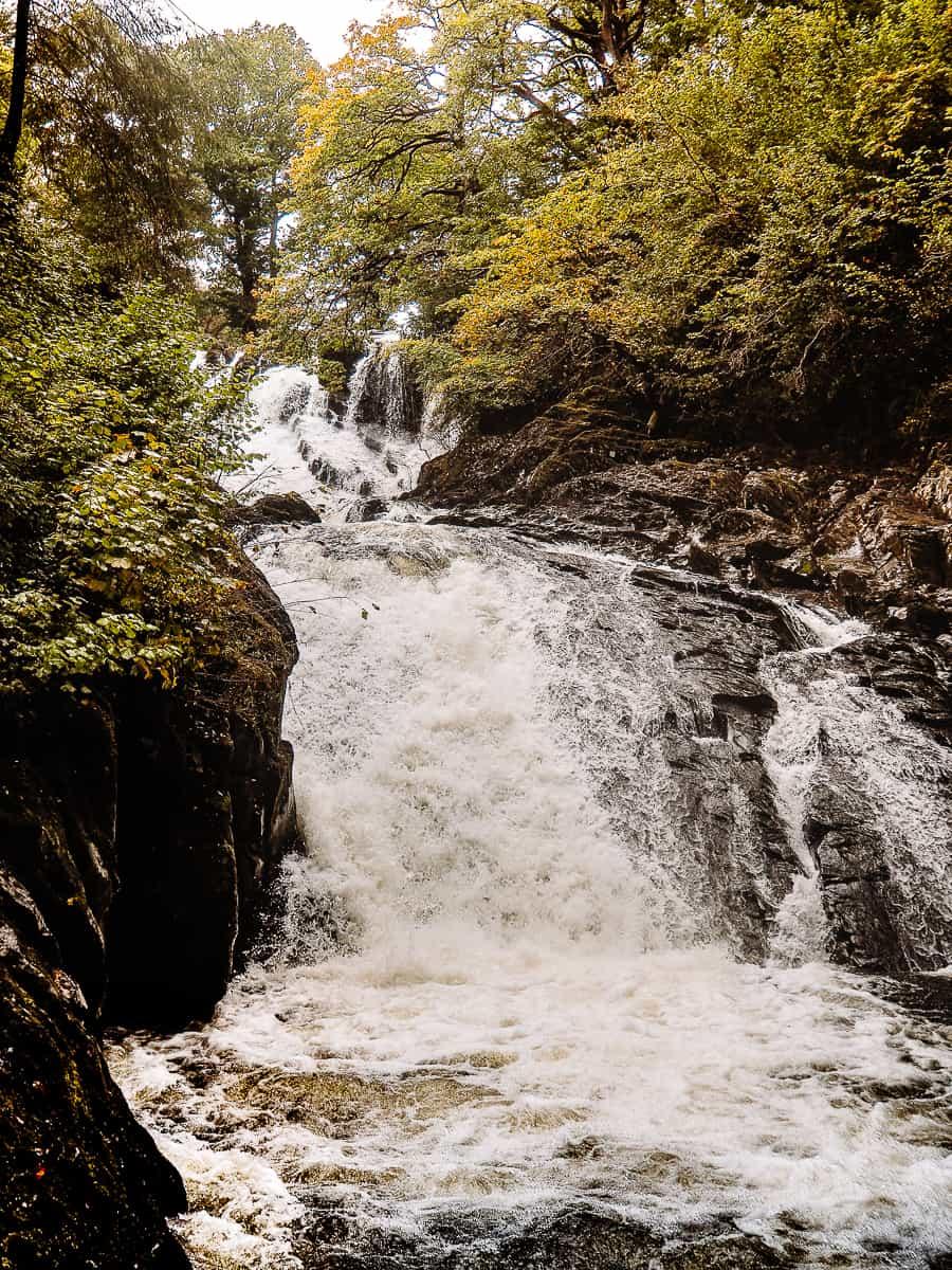 Swallow Falls Waterfall lower cascade in River Llugwy Wales