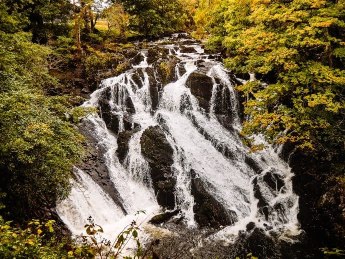 Swallow Falls Waterfall Wales in Autumn