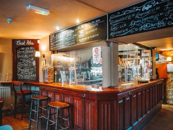 the bar at The Bell Inn Moreton in Marsh