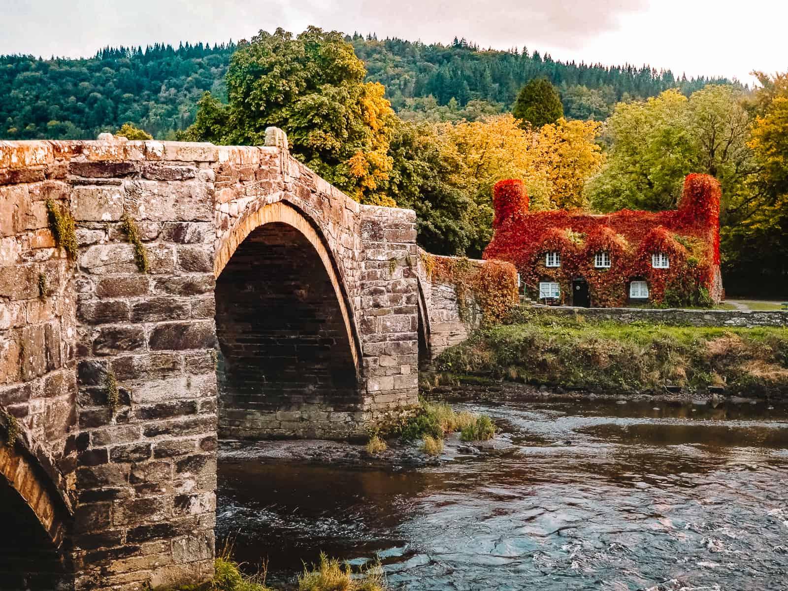 Tu Hwnt Ir Bont Tearoom with red leaves Llanrwst Wales Snowdonia