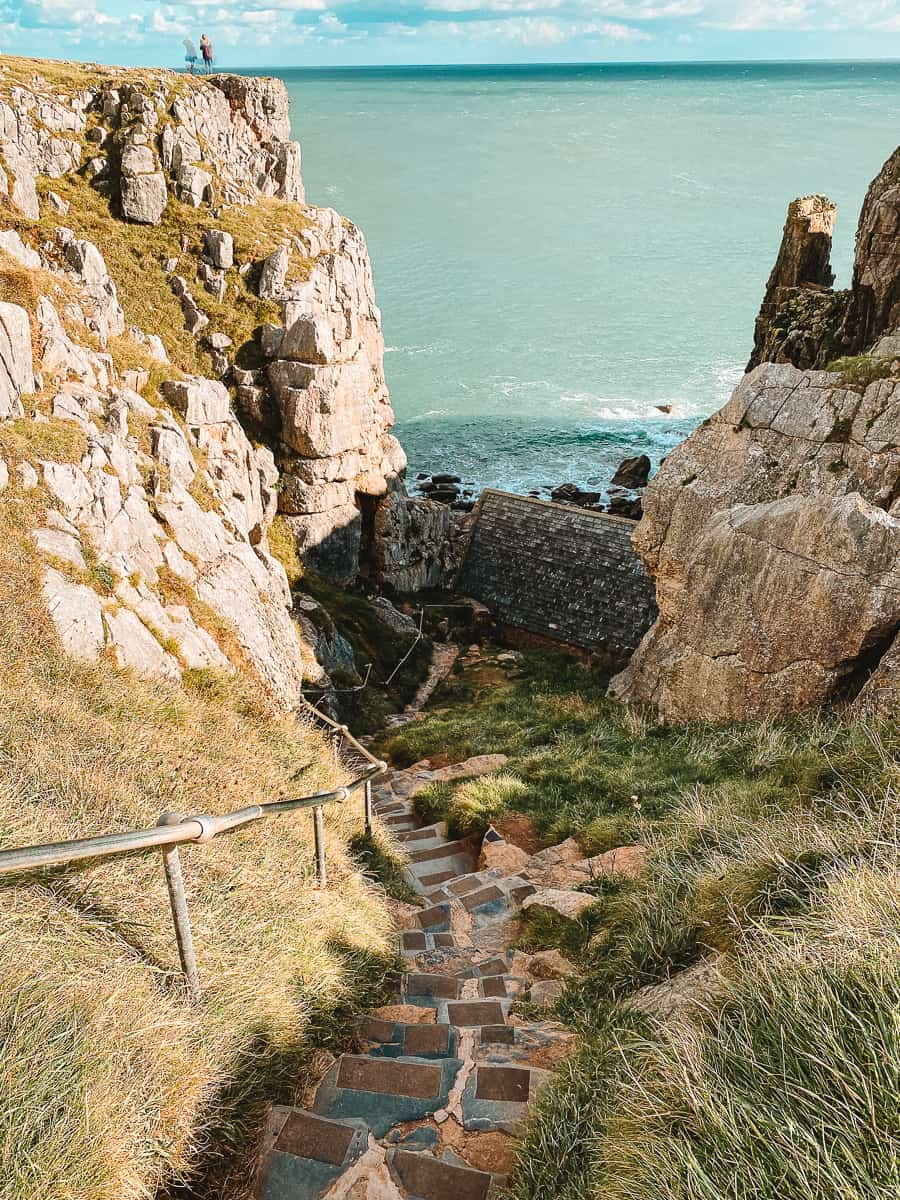 the steps down to St Govan's Chapel